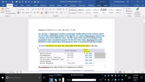 Thumbnail for entry 214014 Advanced Accounting - M01 Problem Demonstration 2-33