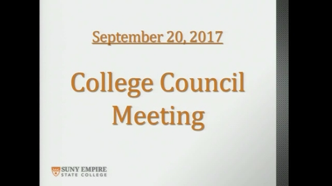 Thumbnail for entry College Council Meeting, Sept. 20, 2017