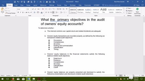 Thumbnail for entry AUDITING--M07 Auditing for Owners' Equity Accounting