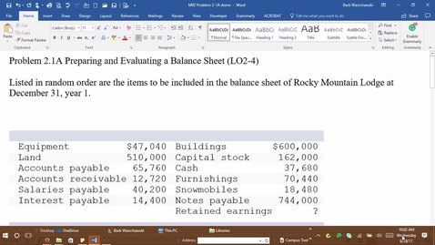 Thumbnail for entry Introductory Accounting 1 - M1 PROBLEM 2-1A