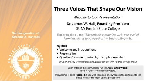 Thumbnail for entry Three Voices that Shape Our Vision: Dr. James Hall, March 13, 2014