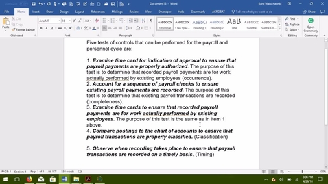 Thumbnail for entry AUDITING--M07 Five Tests of Controls--Payroll and Personnel Cycle