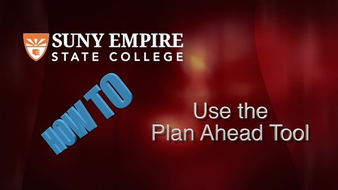 Thumbnail for entry Using the Plan Ahead Tool - Students