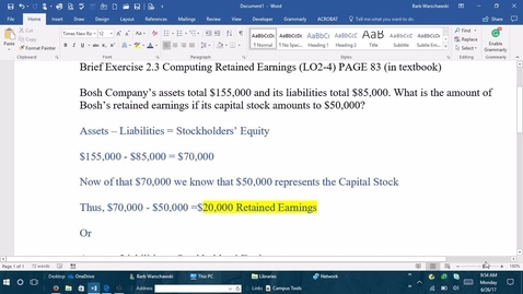 Thumbnail for entry Introductory Accounting 1 - M1 BRIEF EXERCISE 2-3 PROBLEM DEMONSTRATION
