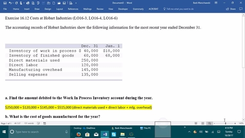 Thumbnail for entry 212064 Introductory Accounting 2 - Problem Demo Exercise 16-12