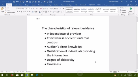Thumbnail for entry AUDITING -- M03 The Characteristics of Relevant Evidence