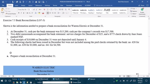 Thumbnail for entry 212054 Introductory Accounting 1 - M04 EXERCISE  7.5 PROBLEM DEMONSTRATION