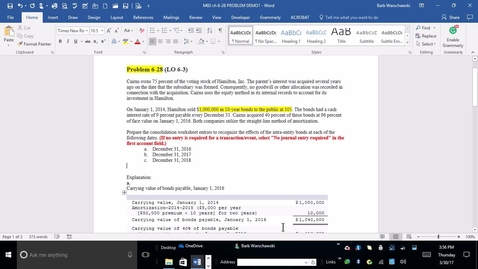 Thumbnail for entry 214014 Advanced Accounting - M03 PROBLEM DEMO 6-28