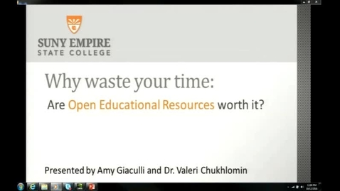 Thumbnail for entry Why waste your time: Are Open Education Resources Worth it? - Episode 1