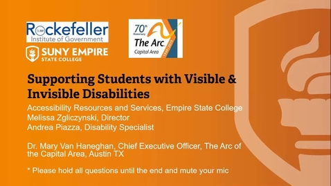 Thumbnail for entry Invisible and Visible Disabilities Training_Rockefeller Institute of Government
