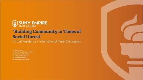 Thumbnail for entry Building Community in Times of Social Unrest - Global Reflections (Video)