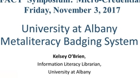 Thumbnail for entry University at Albany Metaliteracy Badging System