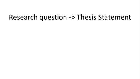 Thumbnail for entry Developing Your Research Question and Thesis Statement