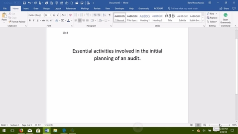 Thumbnail for entry AUDITING--M03 Essential Activities in the Initial Planning of an Audit