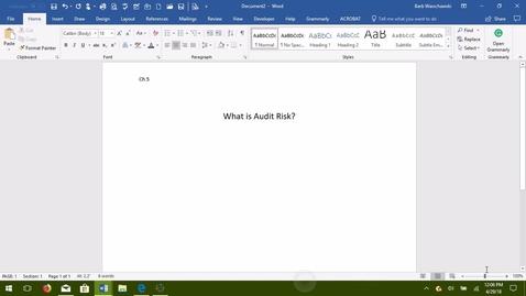 Thumbnail for entry AUDITING--02 Audit Risk