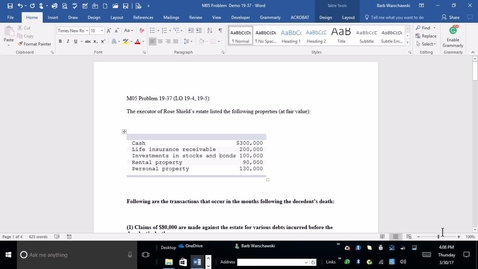 Thumbnail for entry 214014 Advanced Accounting  - M05 PROBLEM 19-37