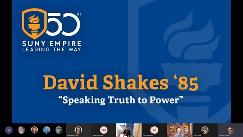 "Thumbnail for entry ""Speaking Truth to Power"" : David Shakes '85"