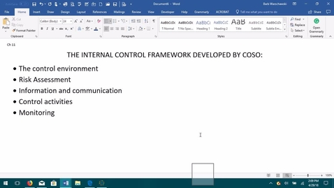 Thumbnail for entry AUDITING--M04 The Internal Control Framework Developed by COSO