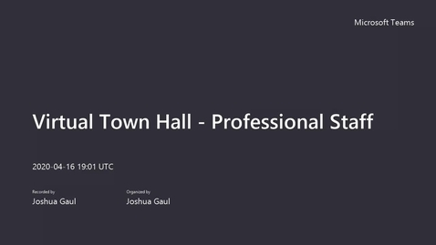 Thumbnail for entry Virtual Town Hall - Professional Staff
