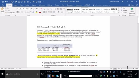 Thumbnail for entry 214014 Advanced Accounting - M02 PROBLEM 5-17 DEMO