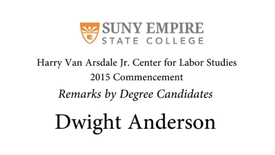 Thumbnail for entry 2015 HVACLS Commencement  - Dwight Anderson Degree Candidate Remarks