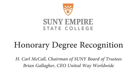 Thumbnail for entry 2015 Metro Commencement - Brian Gallagher Honorary Degree Presentation