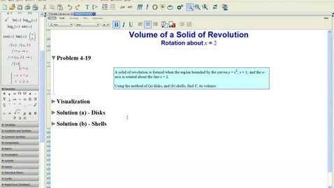Thumbnail for entry Calculus 1: Solution 4-19(a) Solid of Rev-Graphs