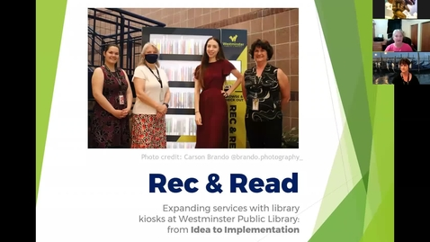 Thumbnail for entry Rec & Read: Expanding services with library kiosks at Westminster Public Library: From Idea to Implementation