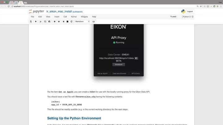 Eikon Data API - Python Quants Tutorial 2- Getting Started on MAC OS
