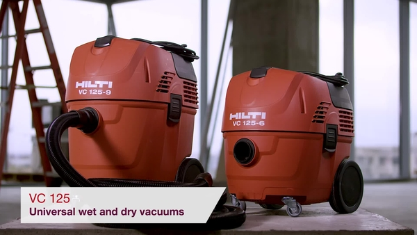 Product video of Hilti's universal wet and dry vacuum cleaner VC 125-6/9