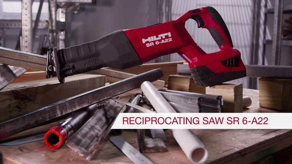 Product video of Hilti's cordless reciprocating saw SR 6-A22