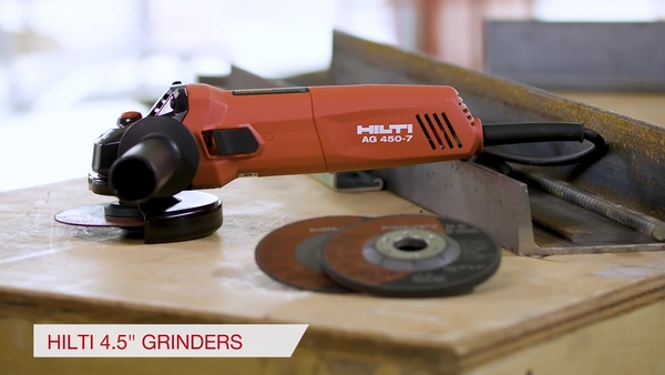 Product video of Hilti's corded angle grinders AG 450-7S and AG 450-7D in English