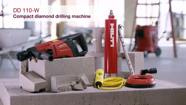 Product video of Hilti's hand-held wet and dry diamond drilling machine DD 110-W