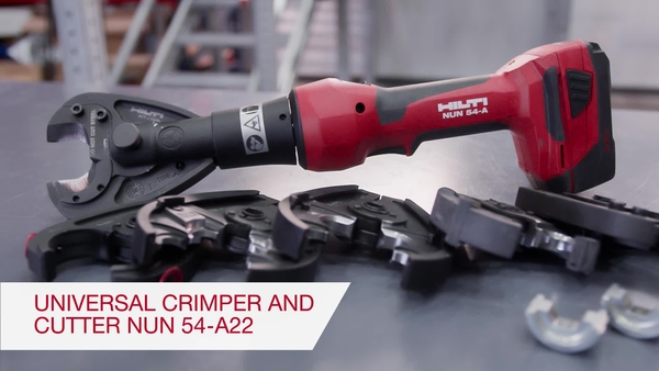 Product video of Hilti's inline universal 6T cordless crimper NUN 54-A