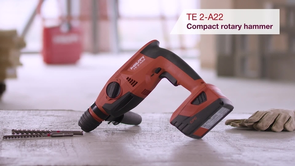 Product video of Hilti's cordless rotary hammer TE 2-A22