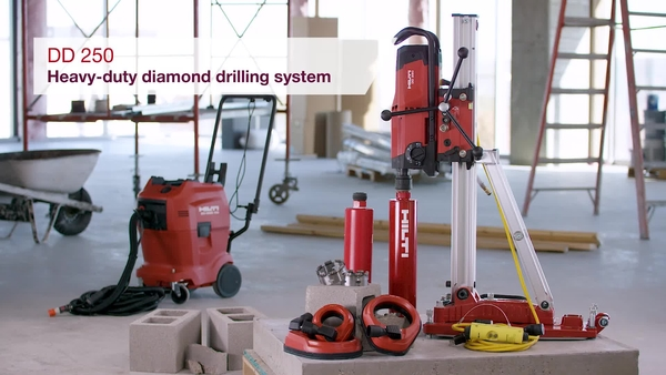 Product video of Hilti's diamond drilling system DD 250