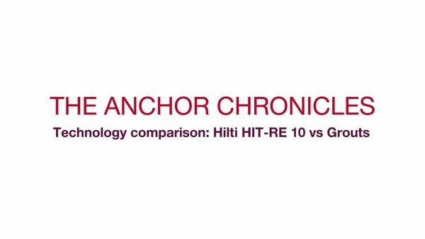 """Anclaje HIT-RE 10: video promocional (en una serie) """"comparación de instalaciones"""" para el sistema HIT-RE 10, que compara la tecnología de inyección con la tecnología de mortero"""