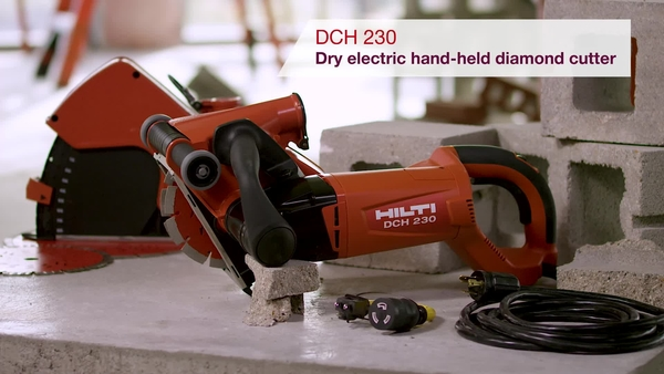 Product video of Hilti's dry electric hand-held diamond cutter DCH 230