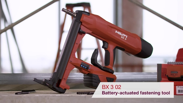 Product video of Hilti's battery actuated fastening tool BX 3 02