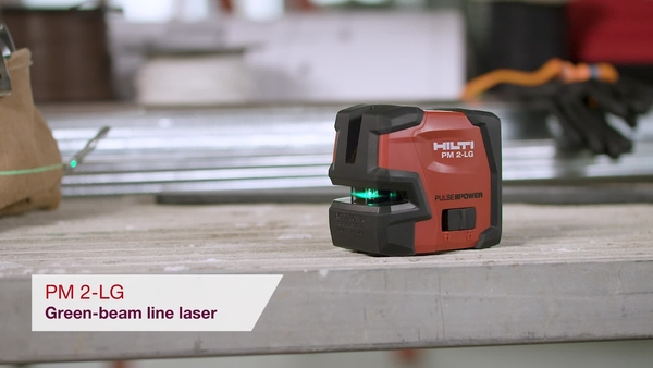 Product video of Hilti's green beam line laser PM 2-LG