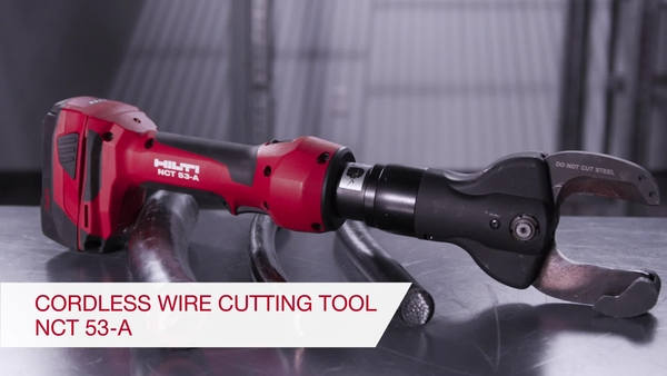 Product video of Hilti's inline cordless 22V copper and aluminum cutter NCT 53-A