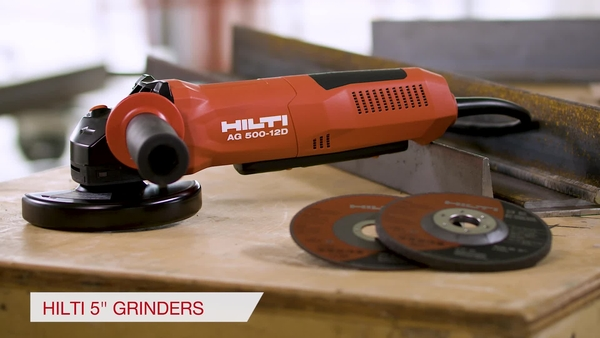 Product video of Hilti's corded angle grinders AG 500-11S and AG 500-12D
