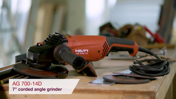 Product video of Hilti's corded angle grinder AG 700-14D in English