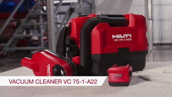 Product video of Hilti's cordless vacuum cleaner VC 75-1-A22 in English
