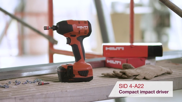Product video of Hilti's cordless impact driver SID 4-A22