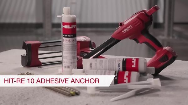 Product video of Hilti's economical epoxy mortar for concrete HIT-RE 10