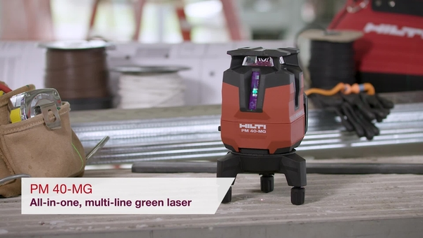 Product video of Hilti's multi-line green laser PM 40-MG