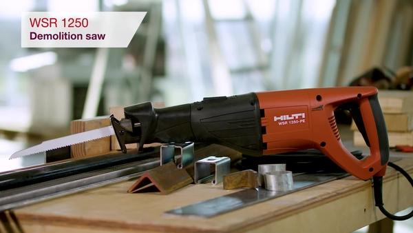 Product video of Hilti's heavy-duty demolition saw WSR 1250-PE