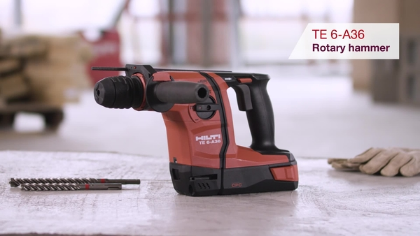 Product video of Hilti's cordless rotary hammer TE 6-A36