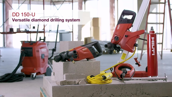 Product video of Hilti's wet and dry diamond drilling system DD 150-U